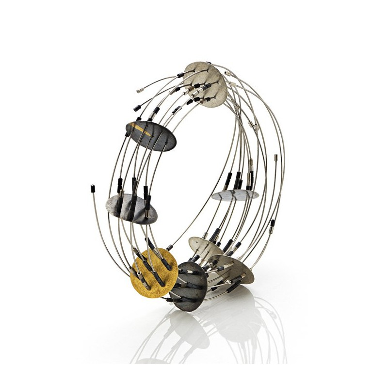 Maria-Rosa Franzin Bracelet - Unique Piece - Pure gold, gold, oxidized silver, steel