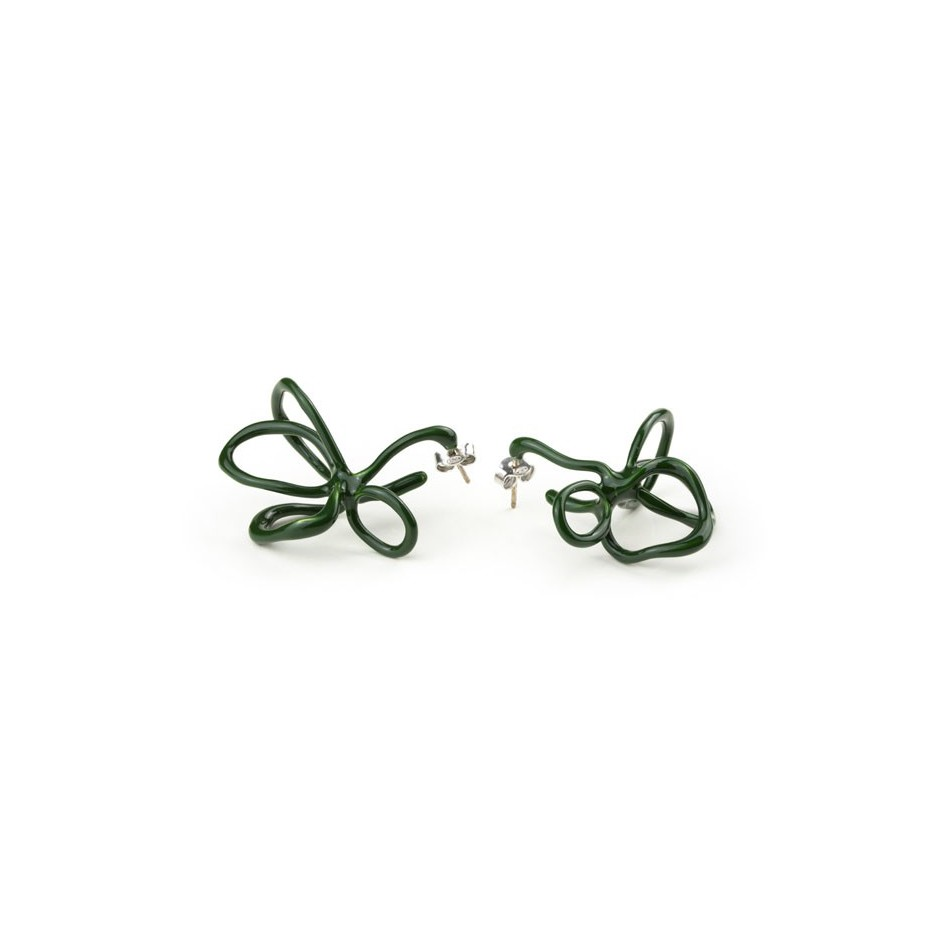 Barbara Uderzo 08A - Limited edition - Rizoma - Green earrings made of silver and acrylic enamel.