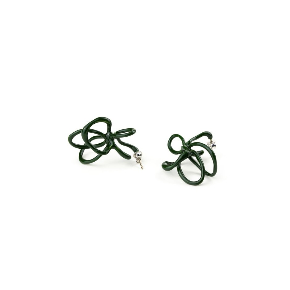 Barbara Uderzo 08B - Limited edition - Rizoma - Green earrings made of silver and acrylic enamel.