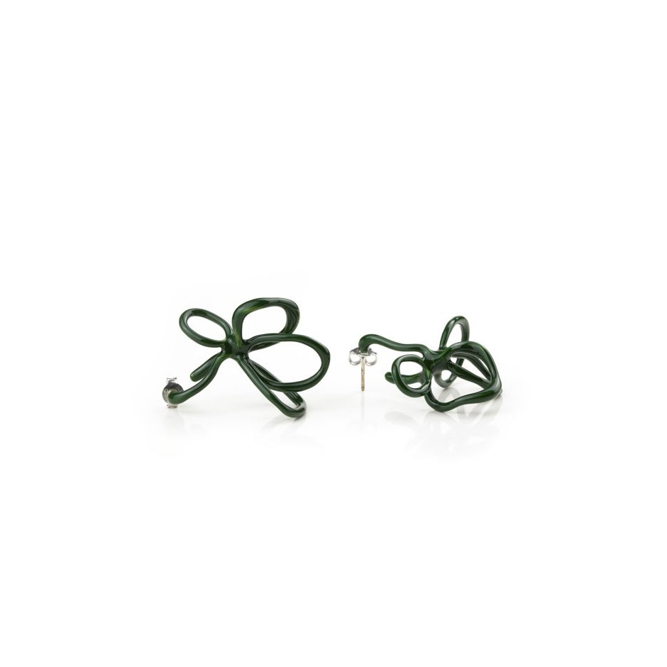 Barbara Uderzo 08C - Limited edition - Rizoma - Green earrings made of silver and acrylic enamel.