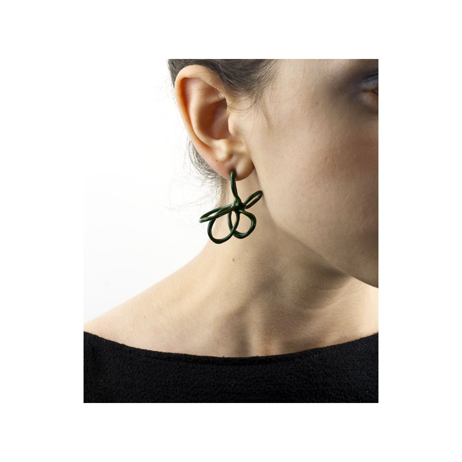 Barbara Uderzo 08D - Limited edition - Rizoma - Green earrings made of silver and acrylic enamel.