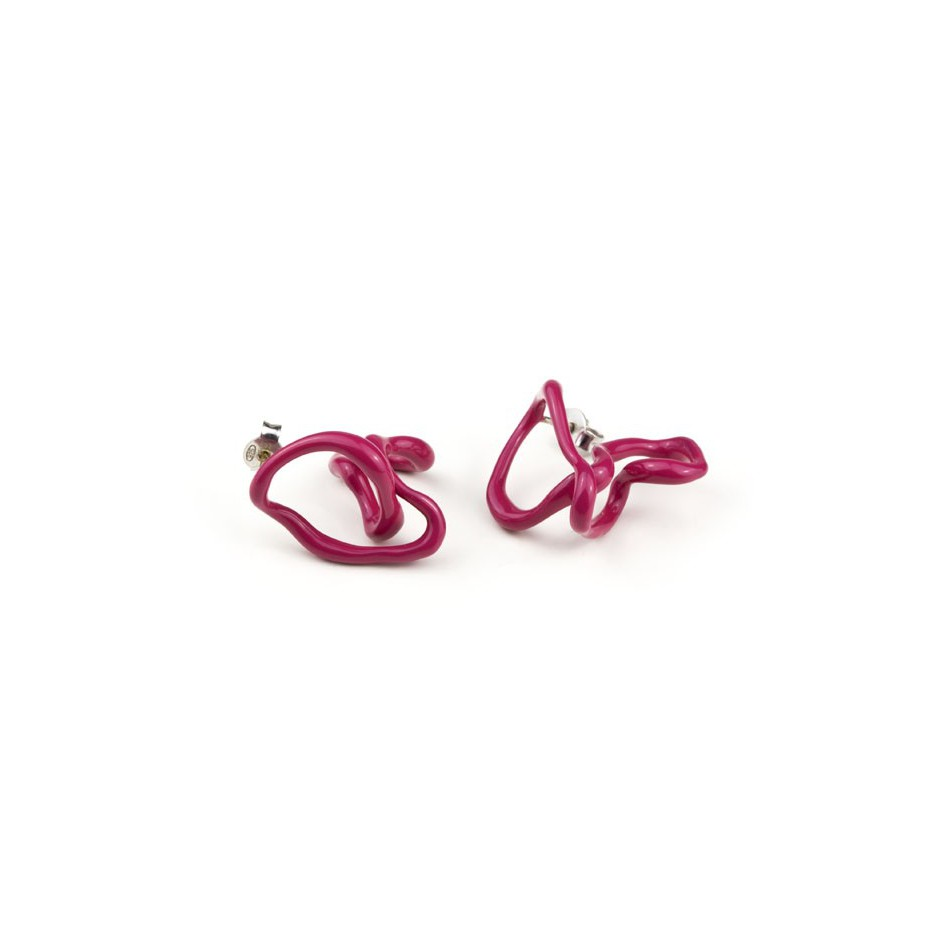 Barbara Uderzo 11A - Limited edition - Rizoma - Fuchsia earrings made of silver and acrylic enamel.