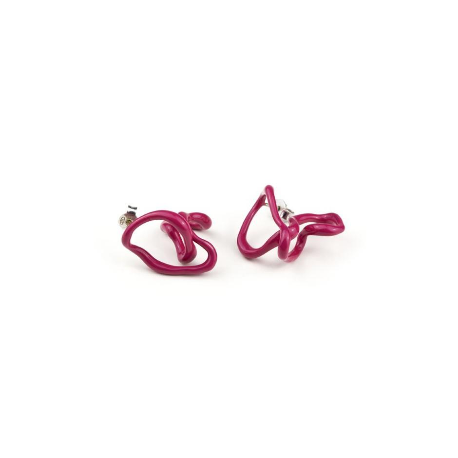 Barbara Uderzo 11A - Limited edition - Rizoma - Fuchsia earrings made of silver and acrylic enamel.