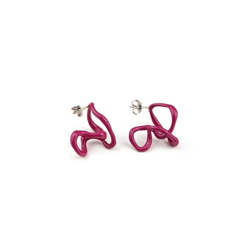 Barbara Uderzo 11C - Limited edition - Rizoma - Fuchsia earrings made of silver and acrylic enamel.