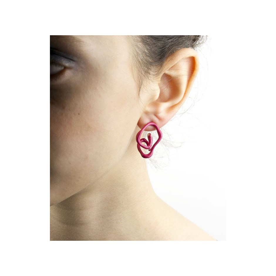 Barbara Uderzo 11D - Limited edition - Rizoma - Fuchsia earrings made of silver and acrylic enamel.