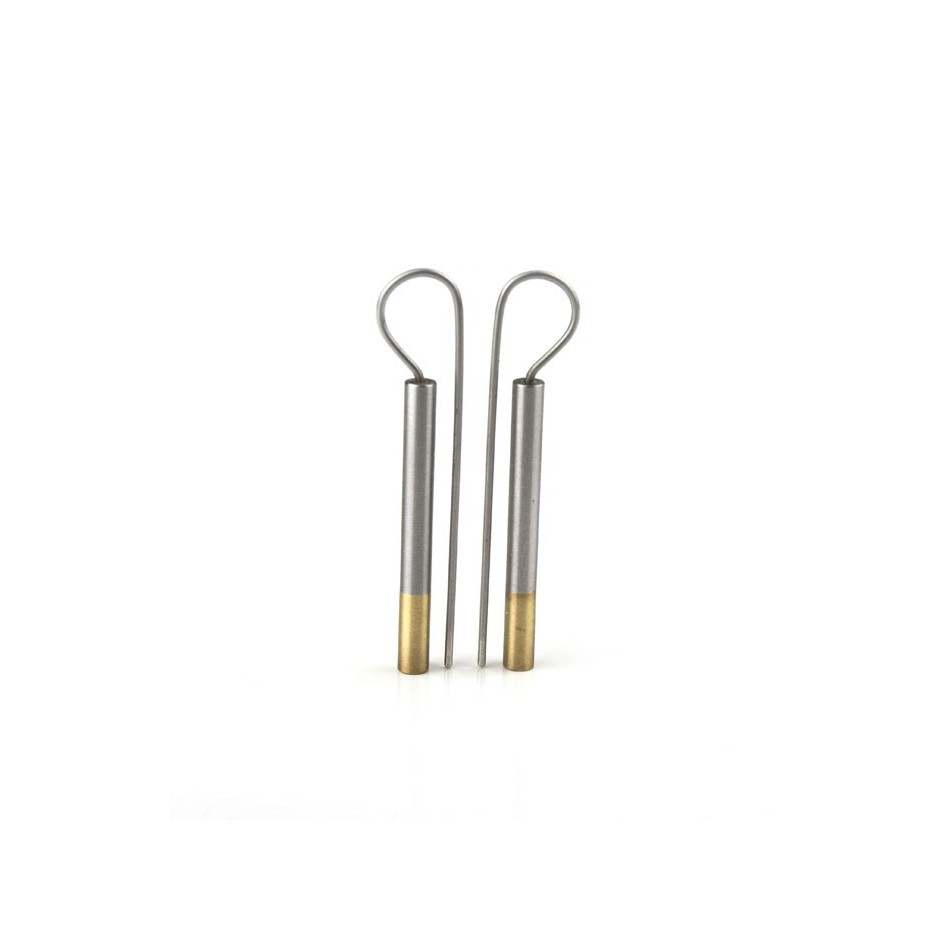 Carl Dau 03A - Limited edition – Earrings made of steel and yellow gold.