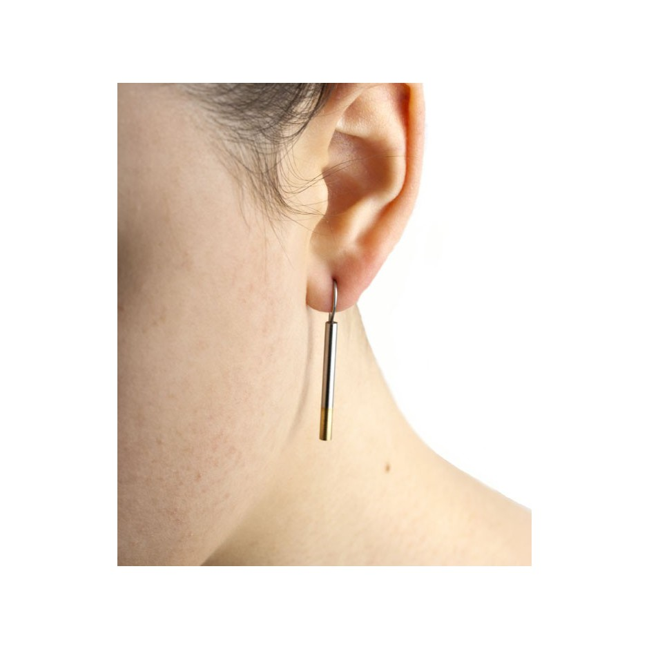 Carl Dau 03D - Limited edition – Earrings made of steel and yellow gold.