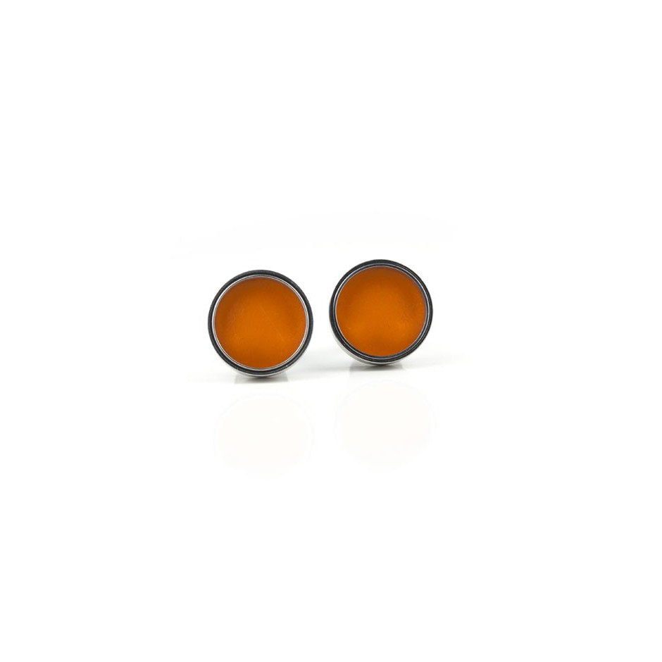 Carl Dau 12A - Limited edition – Cufflinks made of steel and orange lacquer.