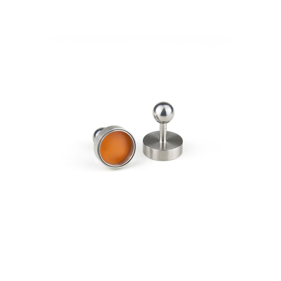 Carl Dau 12B - Limited edition – Cufflinks made of steel and orange lacquer.