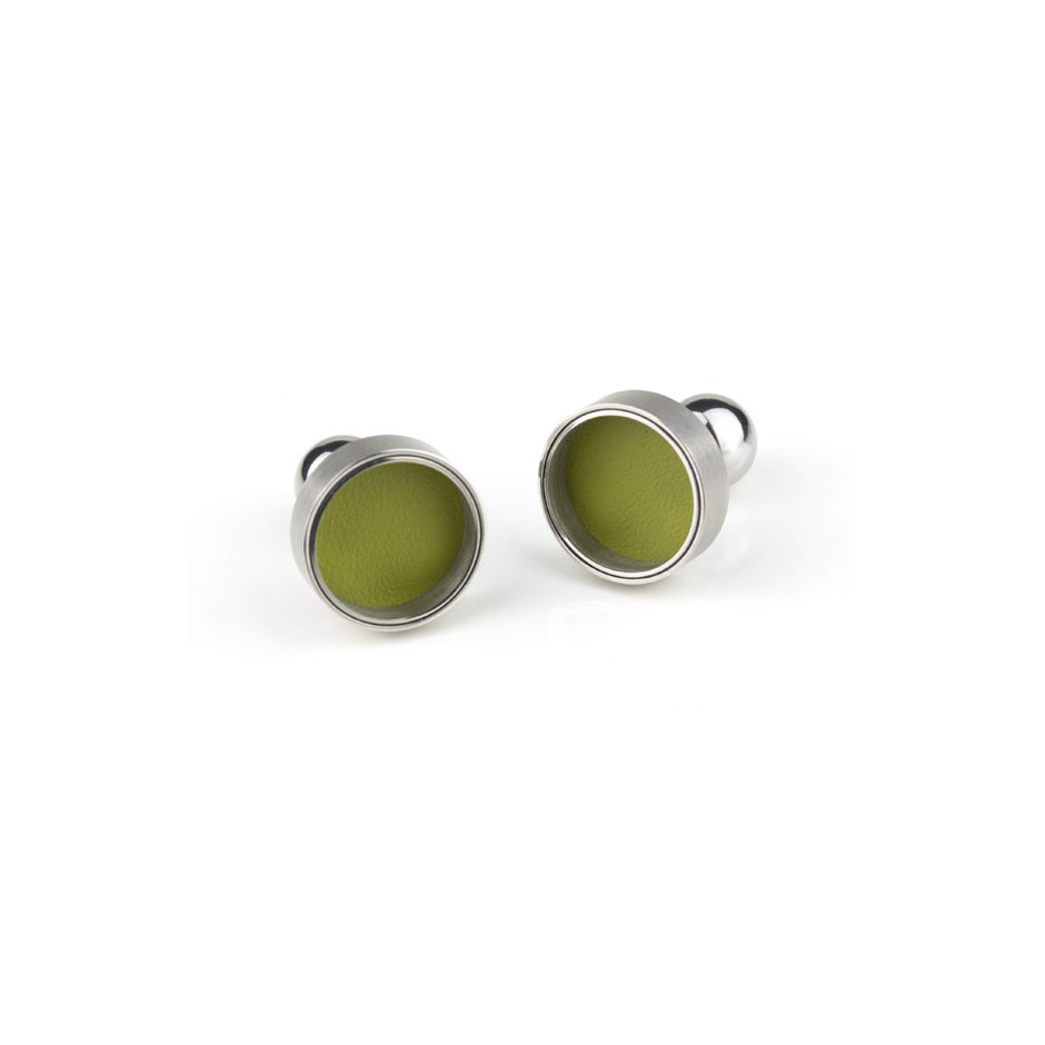 Carl Dau 13A - Limited edition – Cufflinks made of steel and green lacquer.