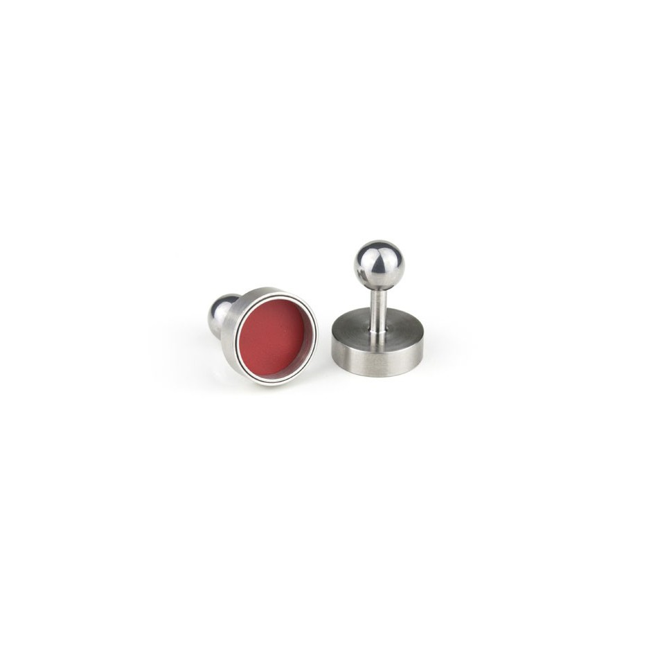 Carl Dau 14B - Limited edition – Cufflinks made of steel and red lacquer.