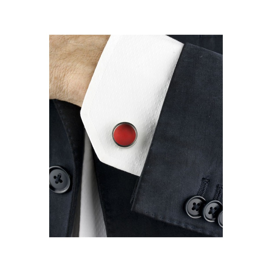 Carl Dau 14C - Limited edition – Cufflinks made of steel and red lacquer.