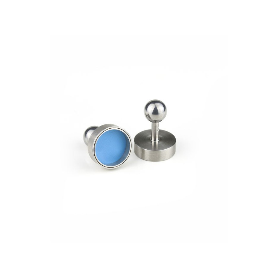 Carl Dau 15B - Limited edition – Cufflinks made of steel and light blue lacquer.