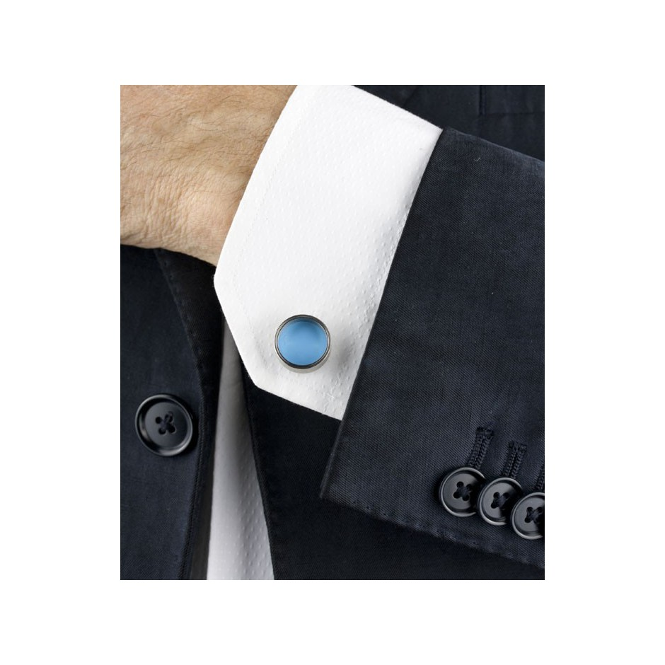 Carl Dau 15C - Limited edition – Cufflinks made of steel and light blue lacquer.