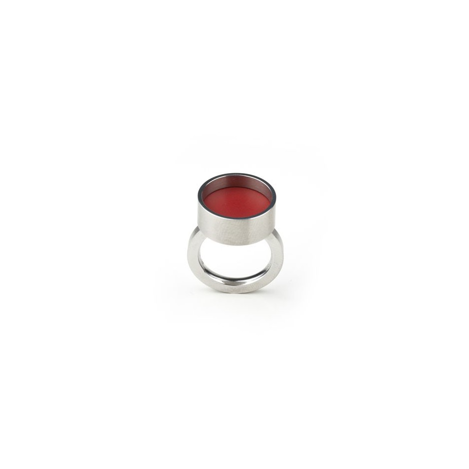 Carl Dau 17B - Ring – Limited edition – Ring made of steel and red lacquer.