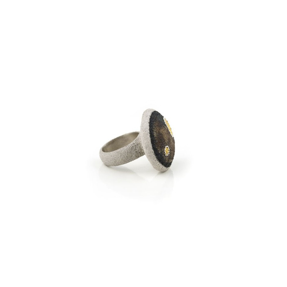 Arata Fuchi 04B - Unique piece - Ring made of silver, silver powder and pure gold