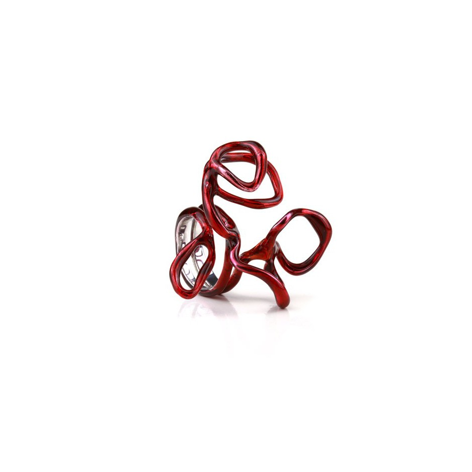 Barbara Uderzo 12A - Limited edition - Rizoma - Ring made of silver, rhodium and acrylic enamel