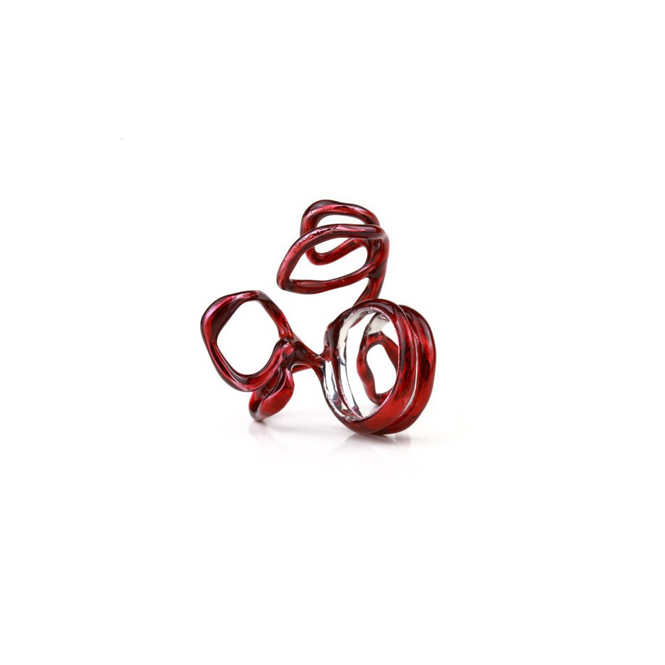 Barbara Uderzo 12B - Limited edition - Rizoma - Ring made of silver, rhodium and acrylic enamel
