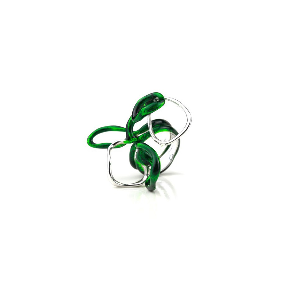 Barbara Uderzo 13A - Limited edition - Rizoma - Ring made of silver, rhodium and acrylic enamel