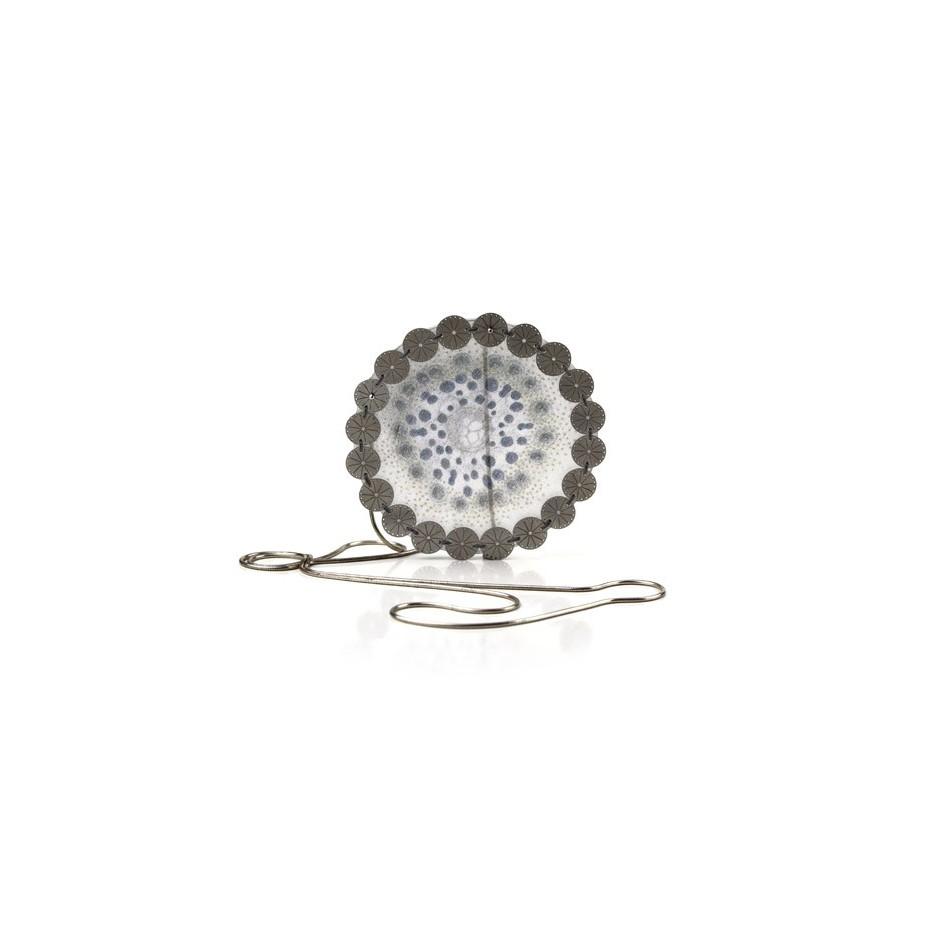Chiara Scarpitti 03B - Correspondences - Under the sea - Pendant made of silver, steel, plexiglass and printed cloth.