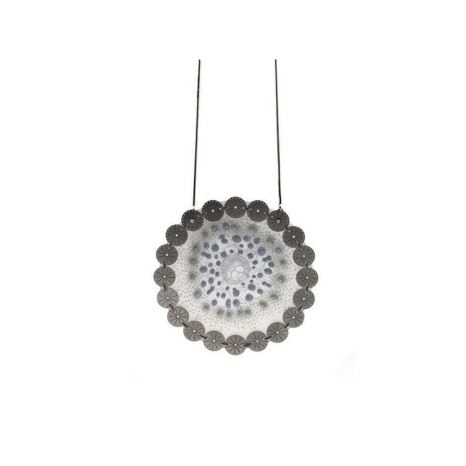 Chiara Scarpitti 03A - Correspondences - Under the sea - Pendant made of silver, steel, plexiglass and printed cloth.
