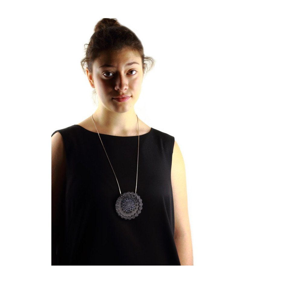 Chiara Scarpitti 03D - Correspondences - Under the sea - Pendant made of silver, steel, plexiglass and printed cloth.