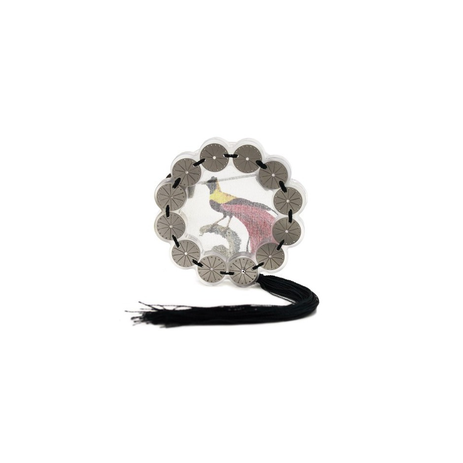 Chiara Scarpitti 07A - Limited Edition – Brooch made of oxidized silver, steel, plexiglass, printed cloth and cotton thread.