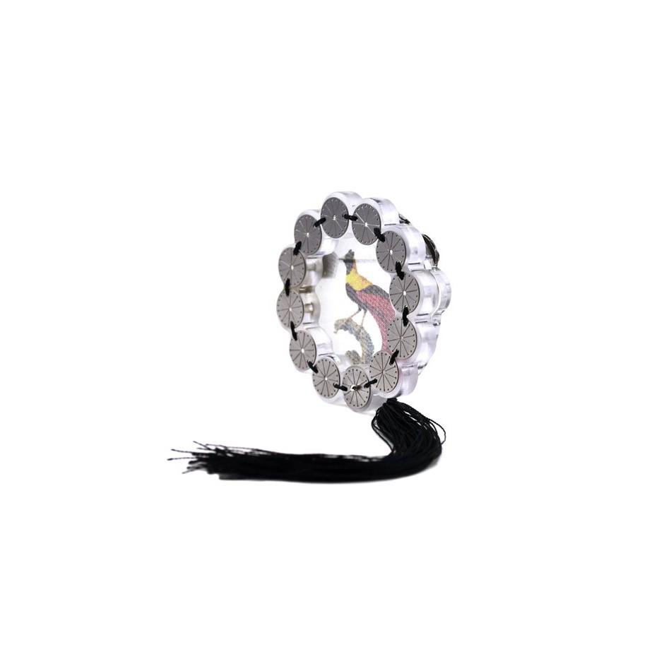 Chiara Scarpitti 07B - Limited Edition – Brooch made of oxidized silver, steel, plexiglass, printed cloth and cotton thread.