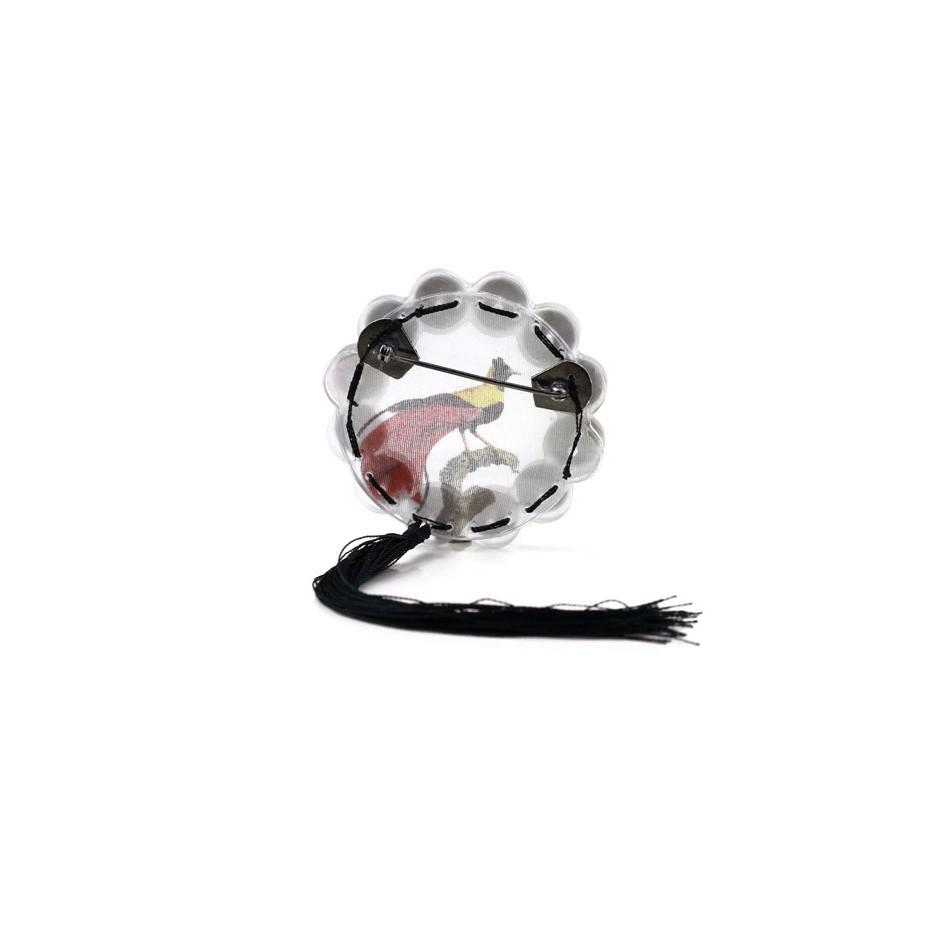 Chiara Scarpitti 07C - Limited Edition – Brooch made of oxidized silver, steel, plexiglass, printed cloth and cotton thread.