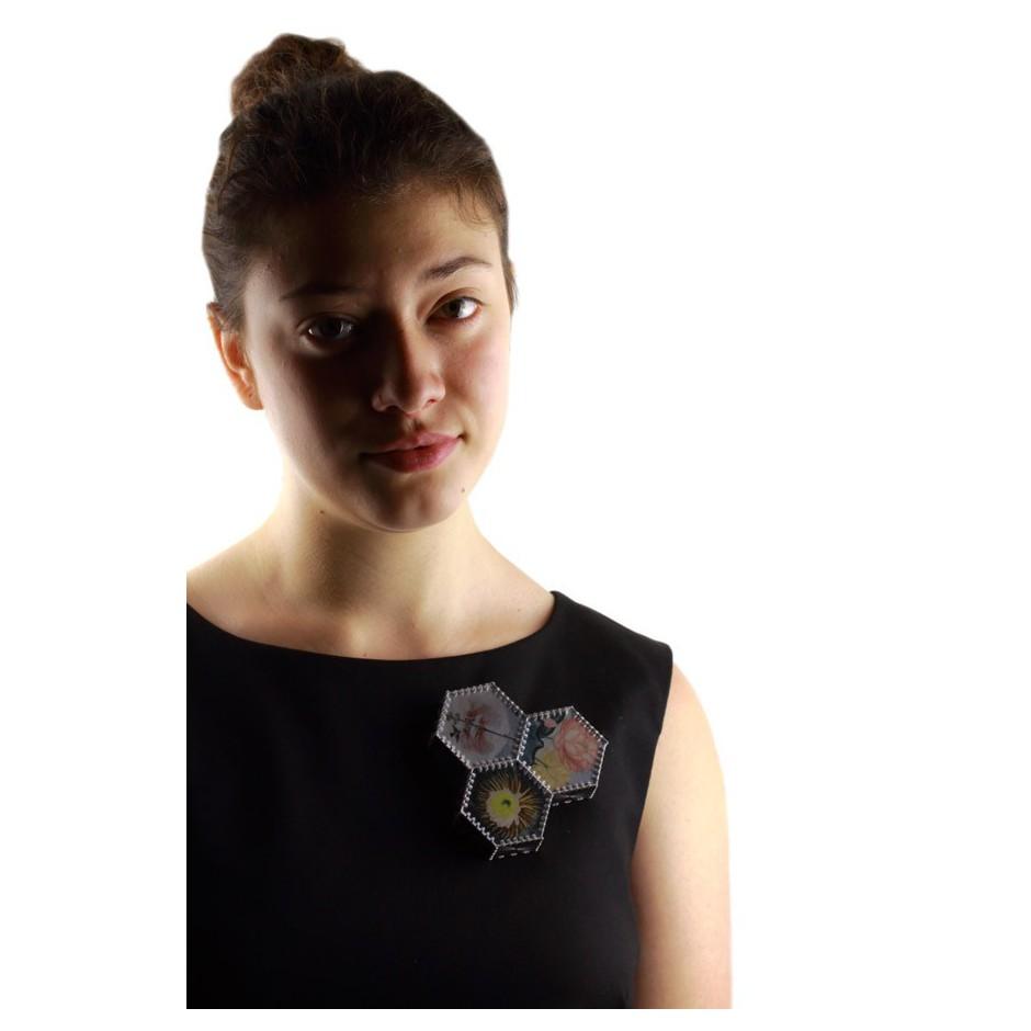 Chiara Scarpitti 11D - Correspondences – Brooch made of oxidized silver, steel, plexiglass, printed cloth and cotton thread.
