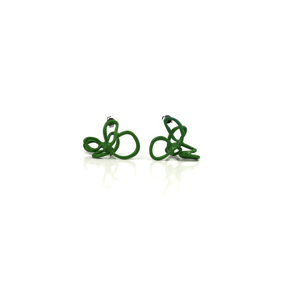 Barbara Uderzo 21A - Limited edition - Rizoma - Green earrings made of silver and acrylic enamel
