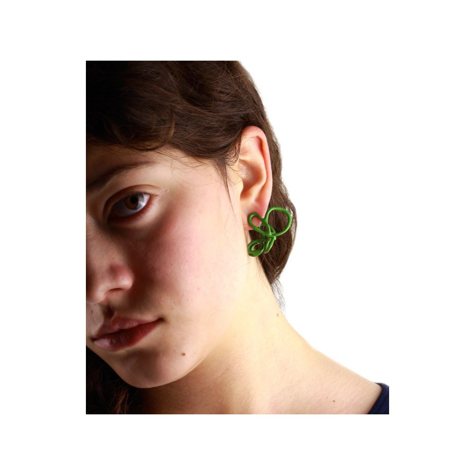 Barbara Uderzo 21C - Limited edition - Rizoma - Green earrings made of silver and acrylic enamel