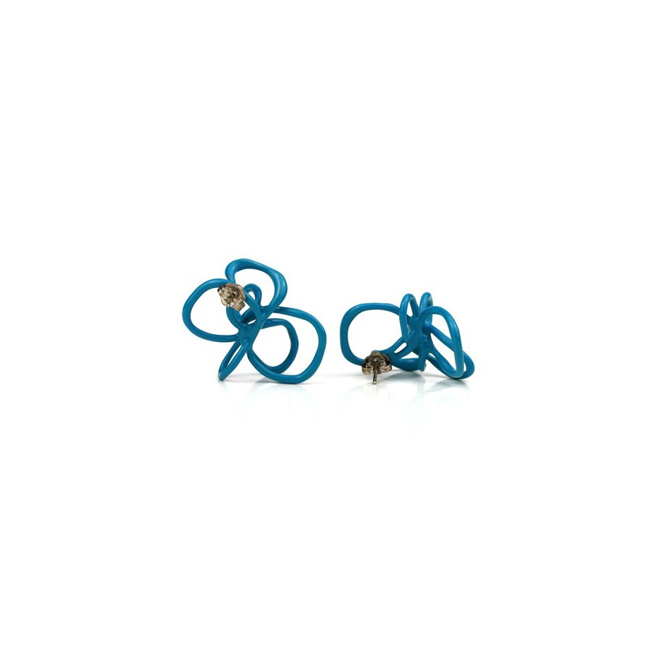 Barbara Uderzo 22B - Limited edition - Rizoma - Light blue earrings made of silver and acrylic enamel