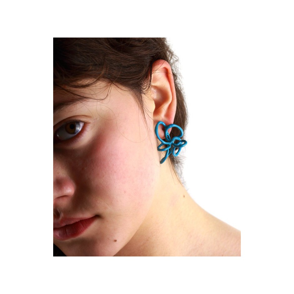 Barbara Uderzo 22C - Limited edition - Rizoma - Light blue earrings made of silver and acrylic enamel