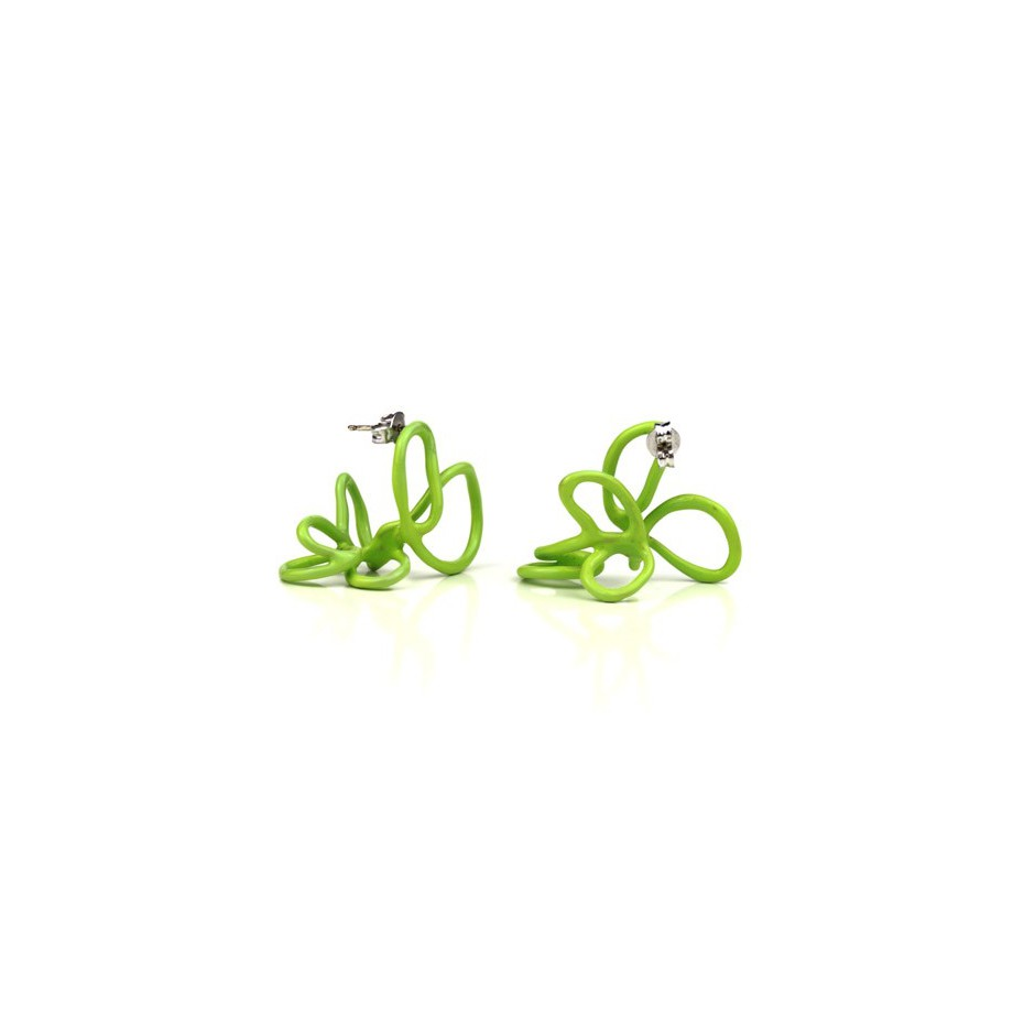 Barbara Uderzo 23B - Limited edition - Rizoma - Light green earrings made of silver and acrylic enamel.