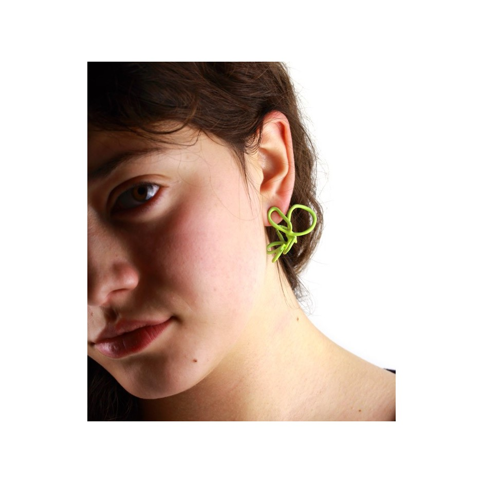 Barbara Uderzo 23C - Limited edition - Rizoma - Light green earrings made of silver and acrylic enamel.
