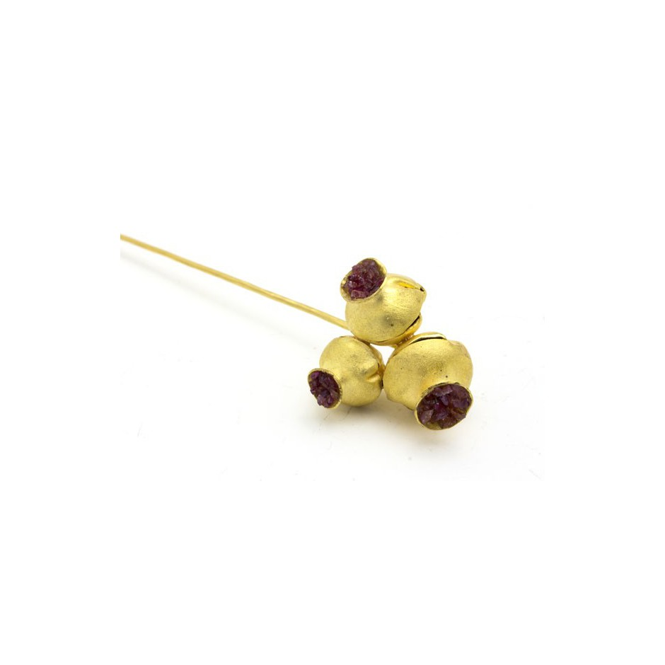 Adrean Bloomard 05A - Brooch - Unique piece - Made of gold and rubies