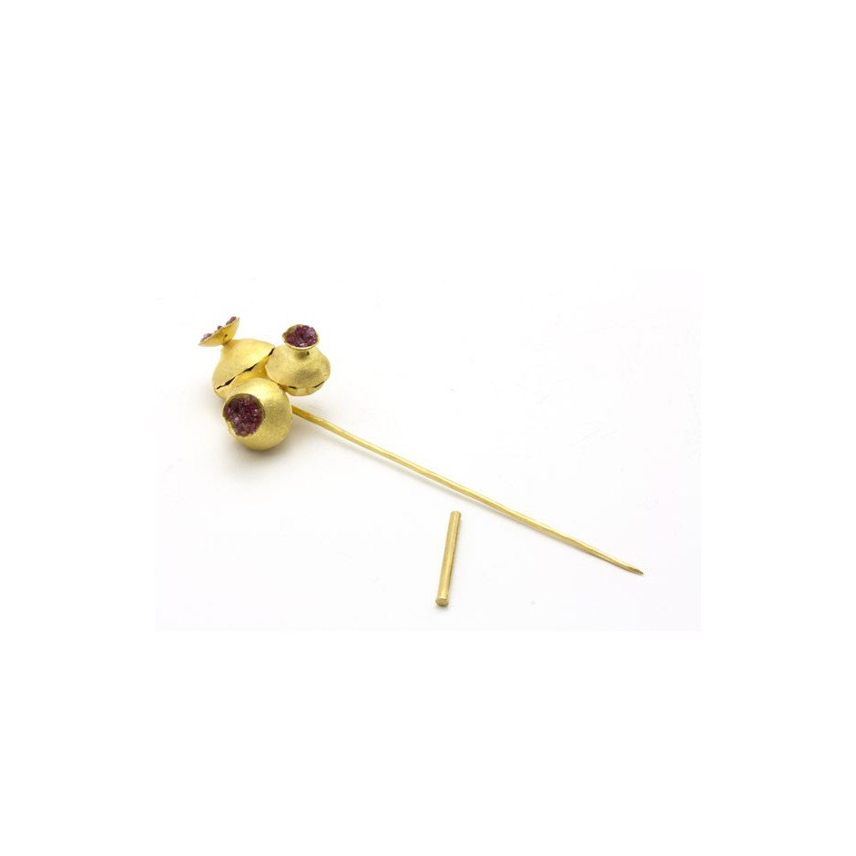 Adrean Bloomard 05B - Brooch - Unique piece - Made of gold and rubies