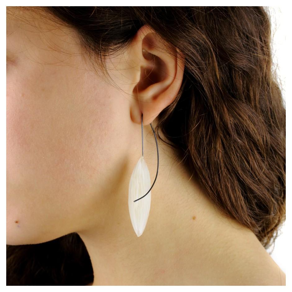 Marcin Tyminski 02C - Earrings - oxidized silver, plexiglass