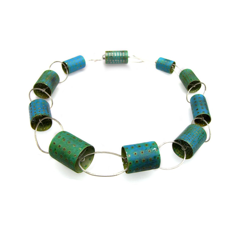 Carola Bauer 24A - Necklace - Unique piece - Silver and enamel