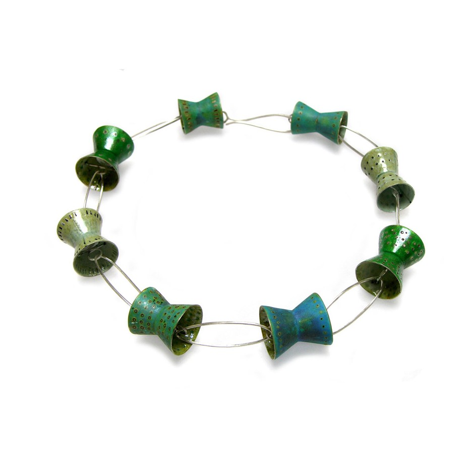 Carola Bauer 25A - Necklace - Unique piece - silver and colored enamels