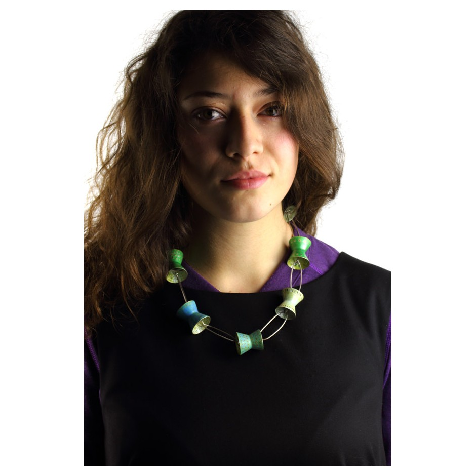 Carola Bauer 25D - Necklace - Unique piece - silver and colored enamels