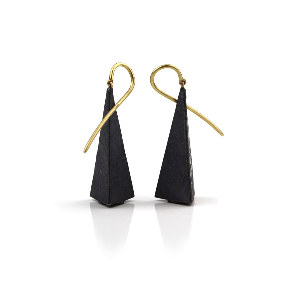 Marco Malasomma 39B - Earrings - limited edition - yellow gold and oxidized silver