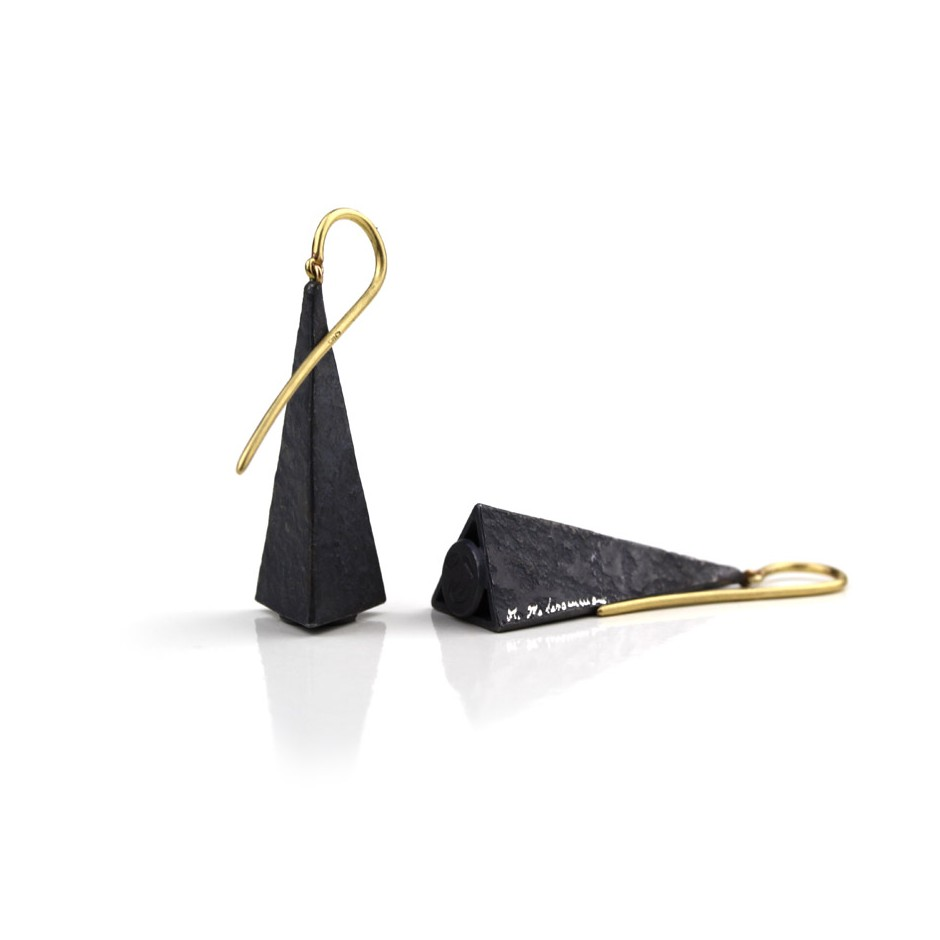 Marco Malasomma 39C - Earrings - limited edition - yellow gold and oxidized silver