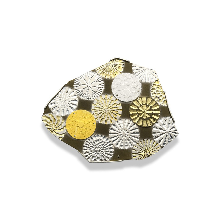Torigaski 06A - Brooch - Unique piece - Silver, fine gold, ceramic coating