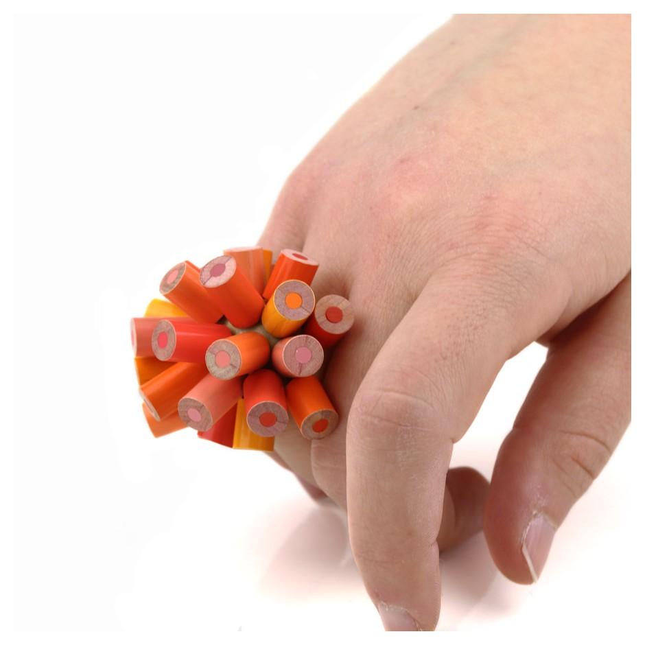 Maria Cristina Bellucci 20D - Ring - Unique piece - colored pencils and wood
