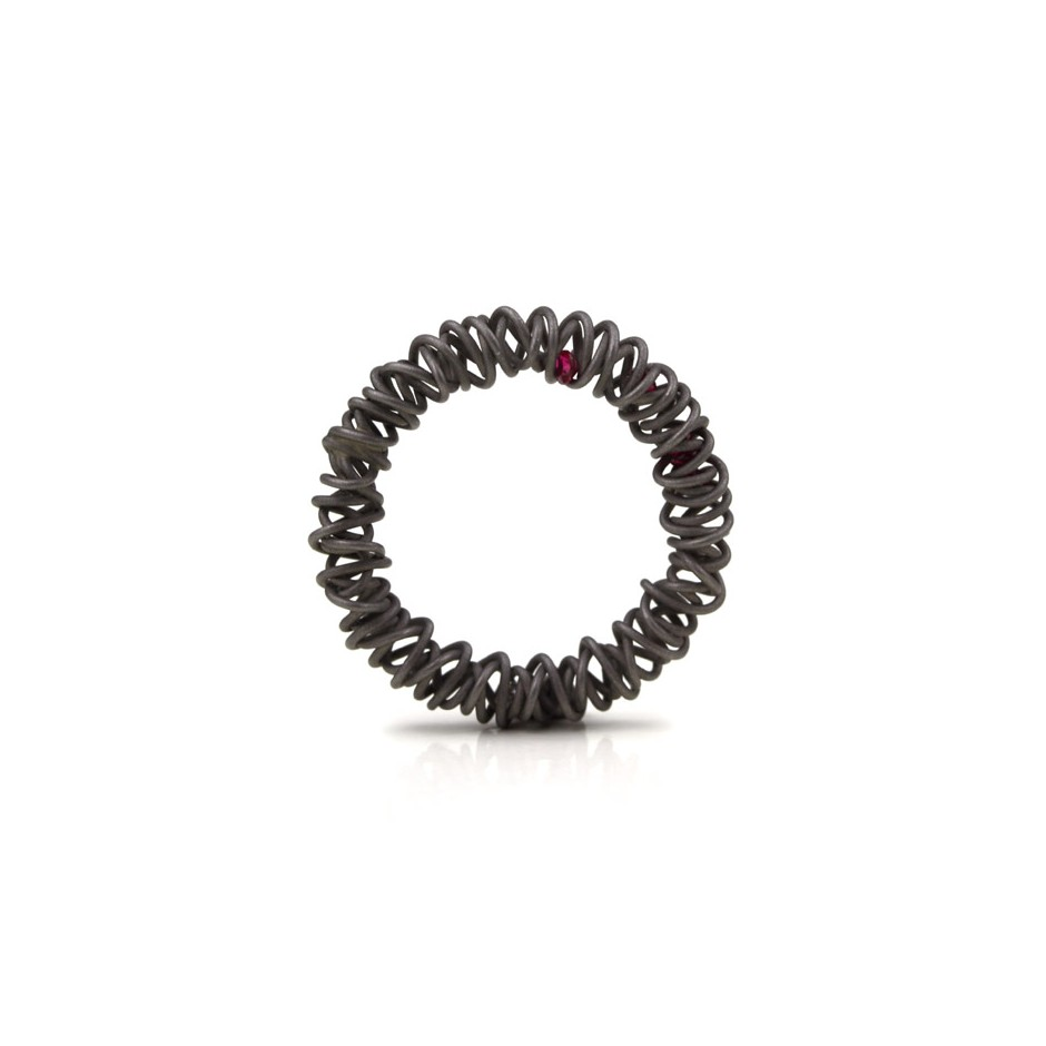 Jacek Byczewski 50A - Ring - Limited edition - Steel, garnets and zircon