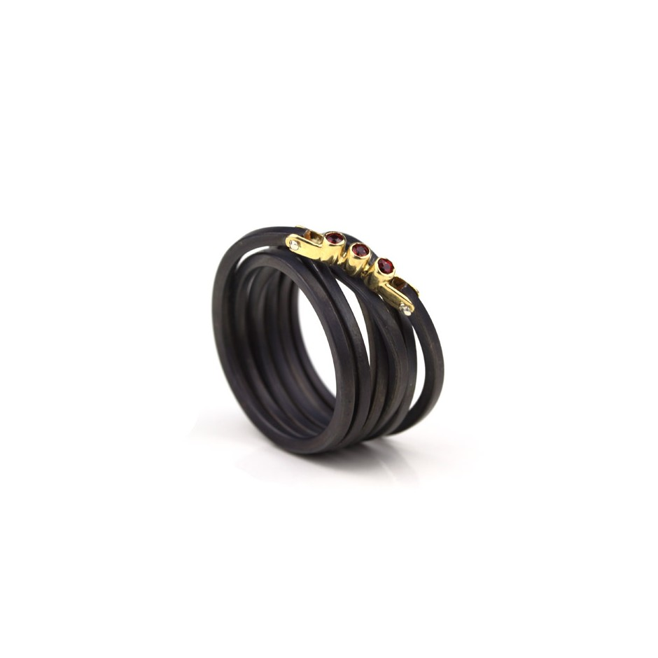 Jacek Byczewski 52A - Ring - Limited edition - Oxidized steel, yellow gold and rubies