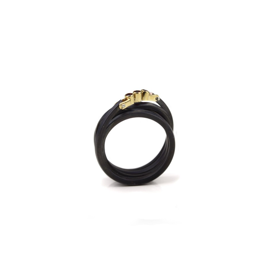Jacek Byczewski 52C - Ring - Limited edition - Oxidized steel, yellow gold and rubies