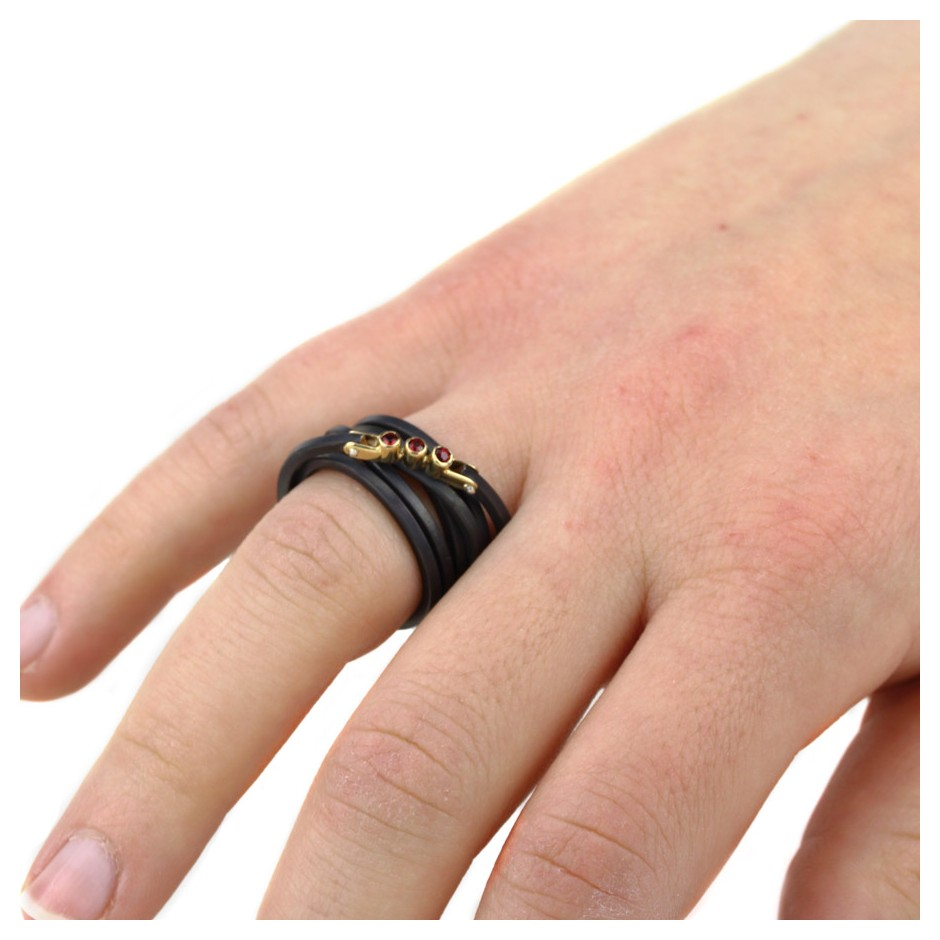 Jacek Byczewski 52D - Ring - Limited edition - Oxidized steel, yellow gold and rubies